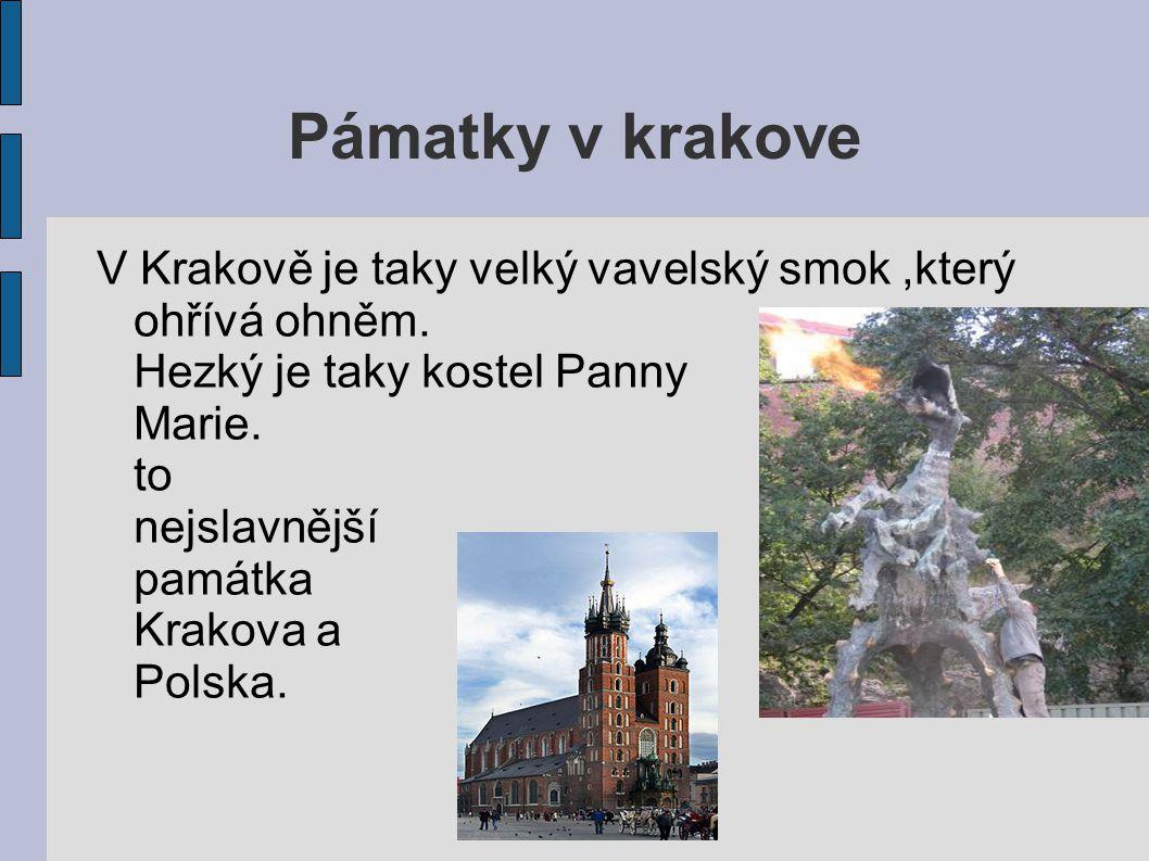 Pámatky v krakove V Krakově je taky velký vavelský smok,který ohřívá ohněm. Hezký je taky kostel Panny Marie. Je to nejslavnější památka Krakova a Pol