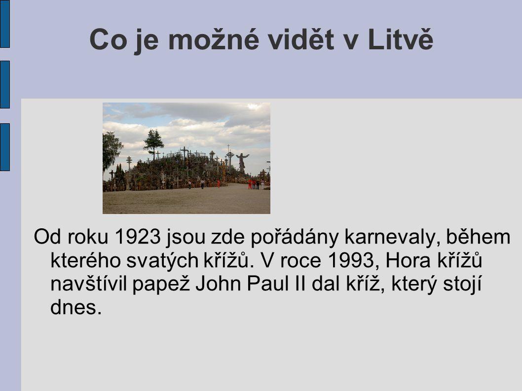 Co je možné vidět v Litvě Od roku 1923 jsou zde pořádány karnevaly, během kterého svatých křížů. V roce 1993, Hora křížů navštívil papež John Paul II