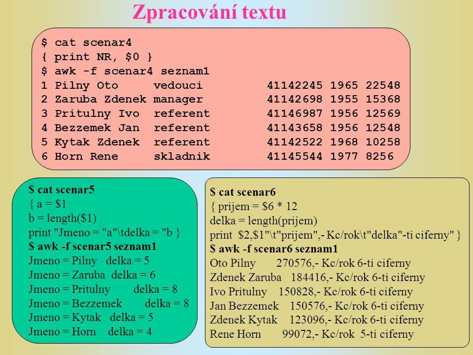 Zpracování textu Kromě vzorů zadávaných pomocí regulárních výrazů mohou být použity ve scénáři awk dva speciální vzory.