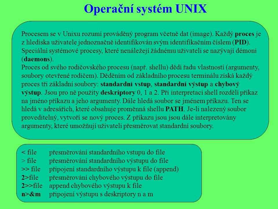 Operační systém UNIX Procesem se v Unixu rozumí prováděný program včetně dat (image).