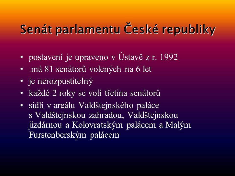 Senát hlasovací zastupitelský orgán horní komora dvoukomorové parlamentu pochází ze středověké formy sociální organizace – tam byla vyhrazena pravomoc