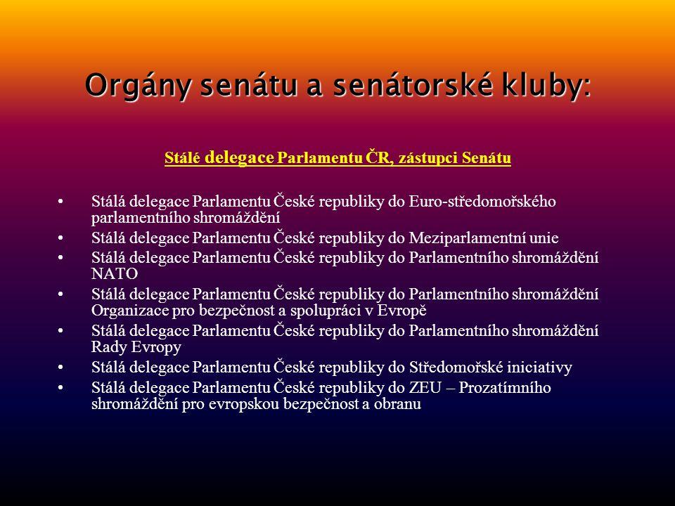 Orgány senátu a senátorské kluby: Komise Senátu Dočasná komise Senátu pro zjištění osob z politických důvodů zadržených, vězněných a jinak perzekuovan