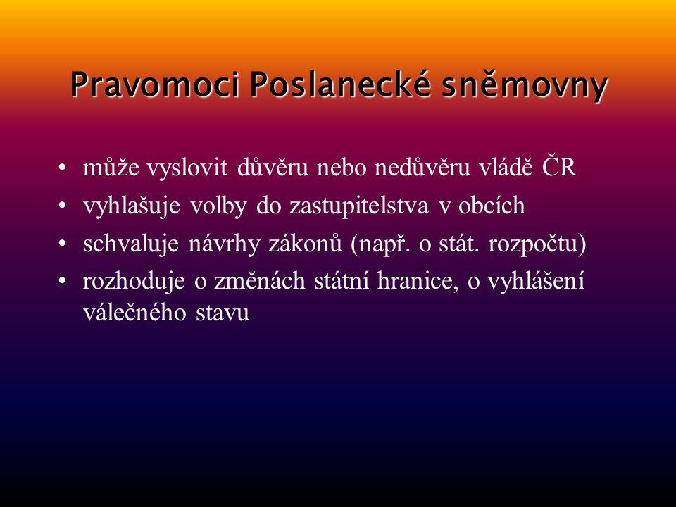 Pravomoci Poslanecké sněmovny může vyslovit důvěru nebo nedůvěru vládě ČR vyhlašuje volby do zastupitelstva v obcích schvaluje návrhy zákonů (např.