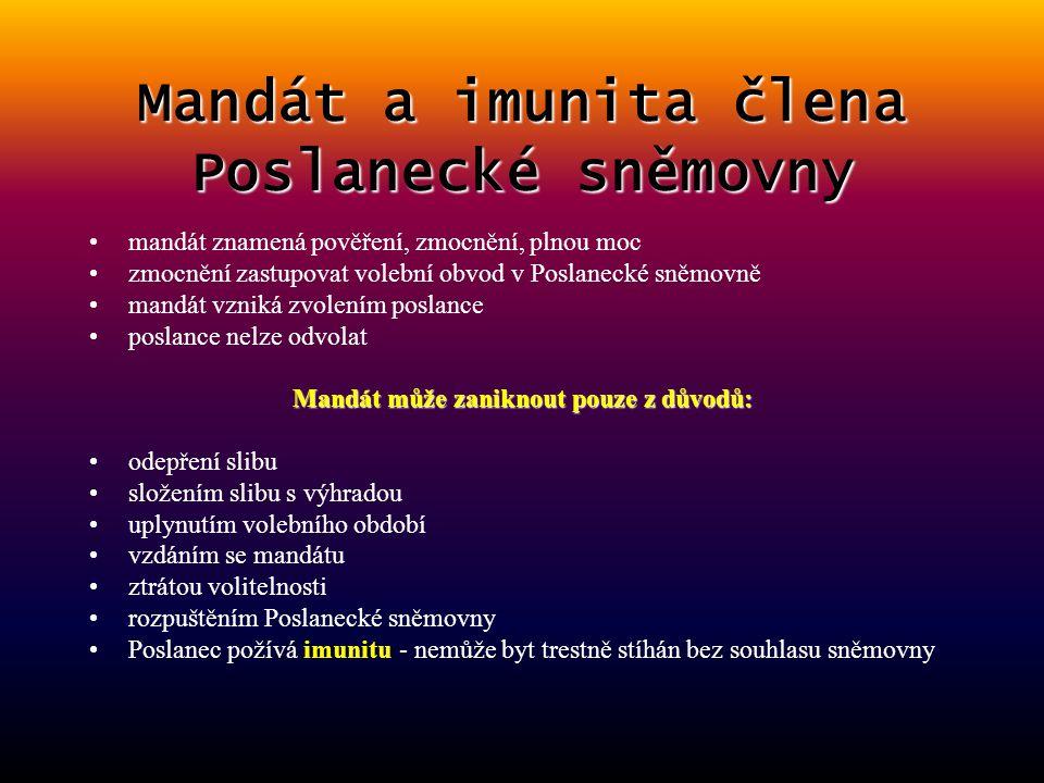 Pravomoci Poslanecké sněmovny může vyslovit důvěru nebo nedůvěru vládě ČR vyhlašuje volby do zastupitelstva v obcích schvaluje návrhy zákonů (např. o
