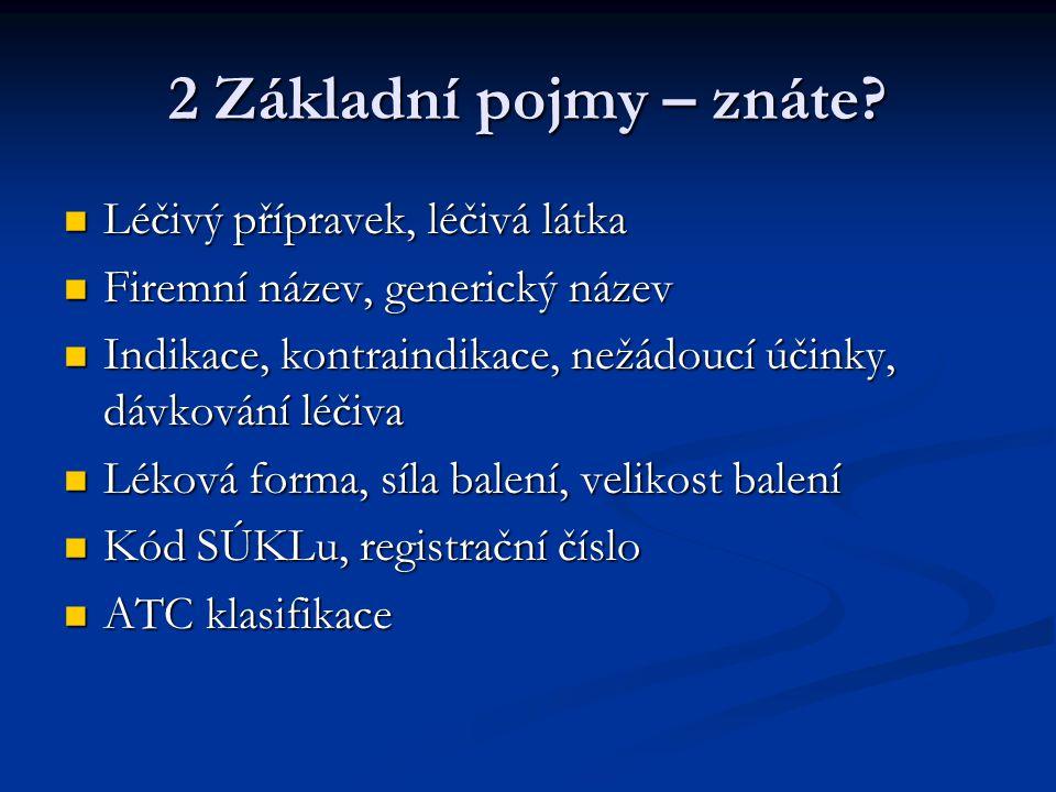 2 Základní pojmy – znáte? Léčivý přípravek, léčivá látka Léčivý přípravek, léčivá látka Firemní název, generický název Firemní název, generický název