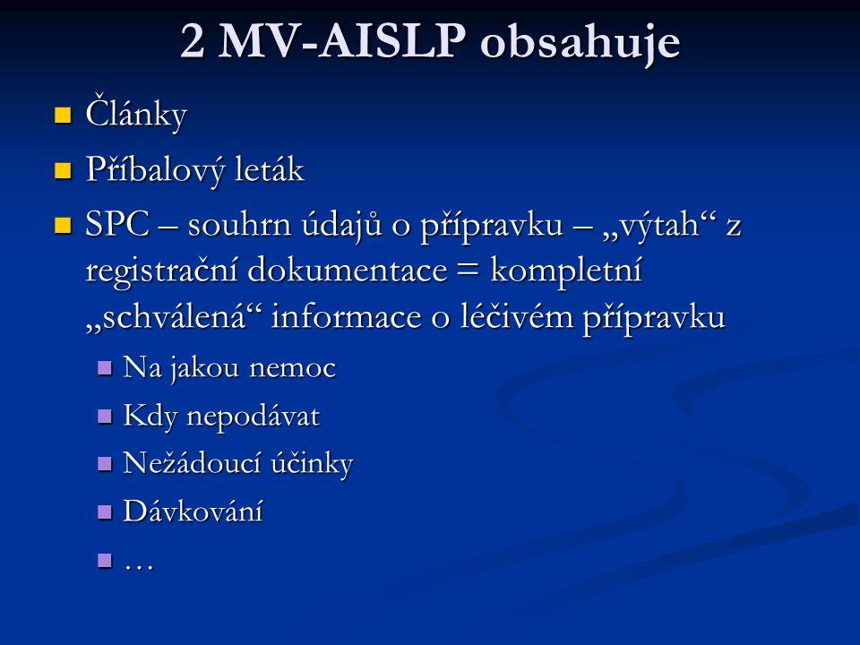 """2 MV-AISLP obsahuje Články Články Příbalový leták Příbalový leták SPC – souhrn údajů o přípravku – """"výtah"""" z registrační dokumentace = kompletní """"schv"""