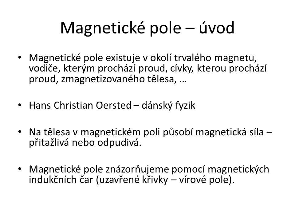 Magnetické pole – úvod Magnetické pole existuje v okolí trvalého magnetu, vodiče, kterým prochází proud, cívky, kterou prochází proud, zmagnetizovanéh