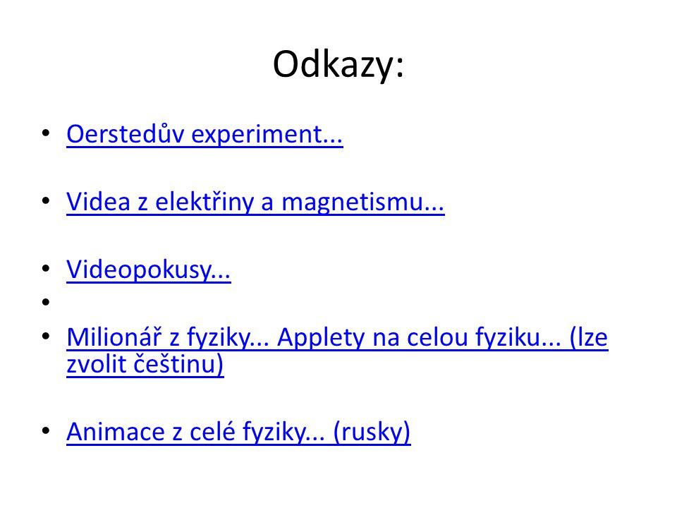 Odkazy: Oerstedův experiment... Videa z elektřiny a magnetismu... Videopokusy... Milionář z fyziky... Applety na celou fyziku... (lze zvolit češtinu)