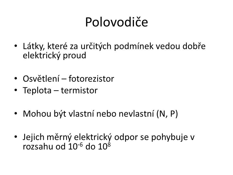 Vlastní vodivost Krystal křemíku, Má 4 valenční elektrony – kovalentní vazba, Dodáním energie (v eV) dochází ke vzniku páru elektron-díra, zánik páru = rekombinace, Elektrický proud = I děrový + I elektronový.
