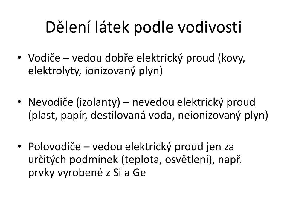 Dělení látek podle vodivosti Vodiče – vedou dobře elektrický proud (kovy, elektrolyty, ionizovaný plyn) Nevodiče (izolanty) – nevedou elektrický proud