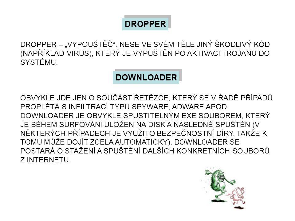 """DROPPER DROPPER – """"VYPOUŠTĚČ"""". NESE VE SVÉM TĚLE JINÝ ŠKODLIVÝ KÓD (NAPŘÍKLAD VIRUS), KTERÝ JE VYPUŠTĚN PO AKTIVACI TROJANU DO SYSTÉMU. DOWNLOADER OBV"""