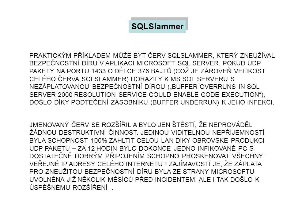 SQLSlammer PRAKTICKÝM PŘÍKLADEM MŮŽE BÝT ČERV SQLSLAMMER, KTERÝ ZNEUŽÍVAL BEZPEČNOSTNÍ DÍRU V APLIKACI MICROSOFT SQL SERVER. POKUD UDP PAKETY NA PORTU