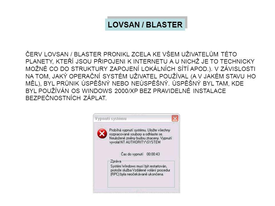 LOVSAN / BLASTER ČERV LOVSAN / BLASTER PRONIKL ZCELA KE VŠEM UŽIVATELŮM TÉTO PLANETY, KTEŘÍ JSOU PŘIPOJENI K INTERNETU A U NICHŽ JE TO TECHNICKY MOŽNÉ