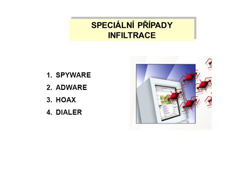 SPECIÁLNÍ PŘÍPADY INFILTRACE 1.SPYWARE 2.ADWARE 3.HOAX 4.DIALER