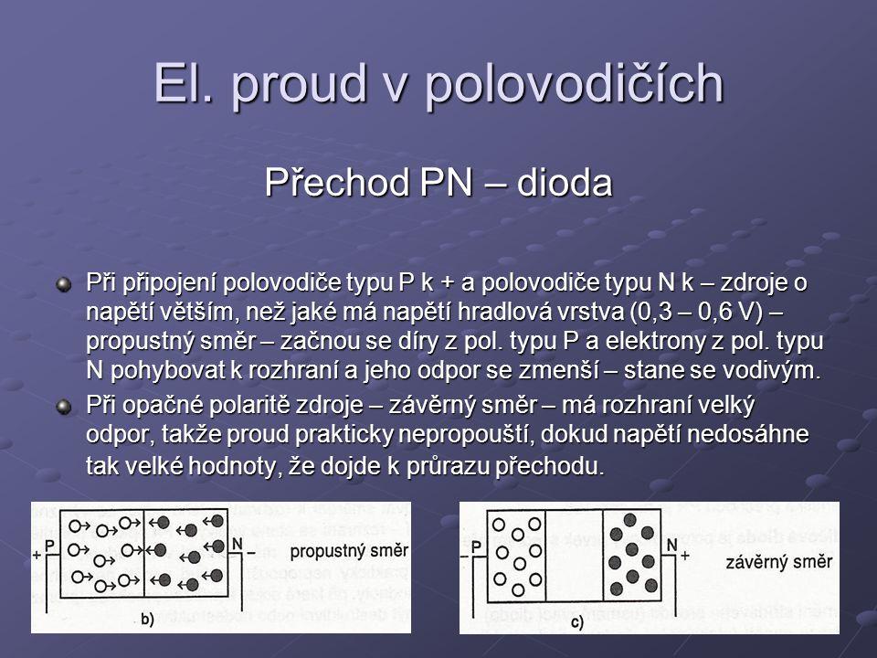 El. proud v polovodičích Přechod PN – dioda Při připojení polovodiče typu P k + a polovodiče typu N k – zdroje o napětí větším, než jaké má napětí hra