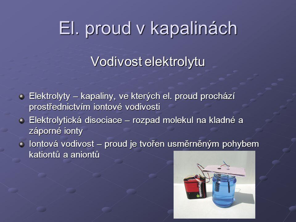 El. proud v kapalinách Vodivost elektrolytu Elektrolyty – kapaliny, ve kterých el. proud prochází prostřednictvím iontové vodivosti Elektrolytická dis