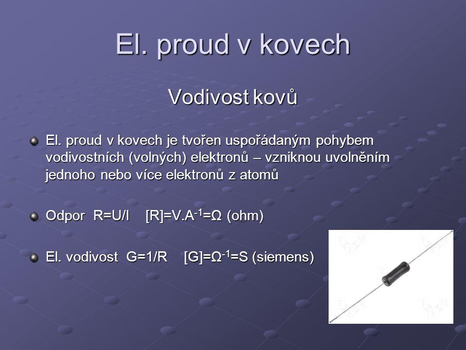 El. proud v kovech Vodivost kovů El. proud v kovech je tvořen uspořádaným pohybem vodivostních (volných) elektronů – vzniknou uvolněním jednoho nebo v