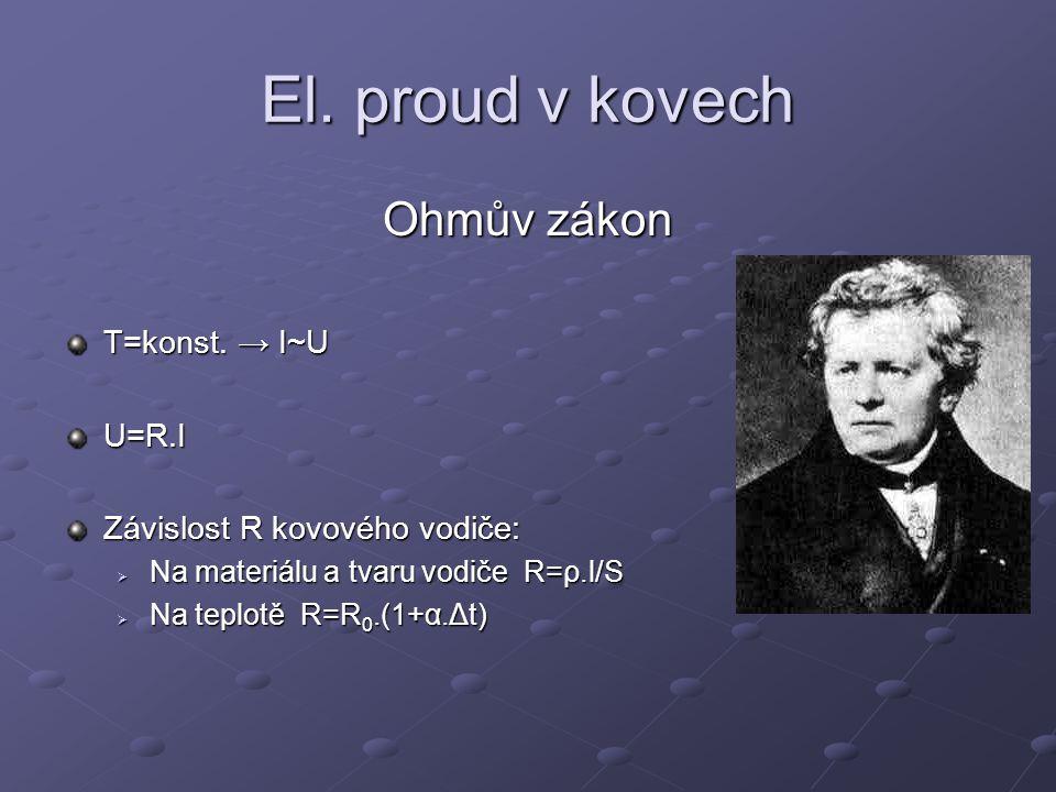 El.proud v kovech Ohmův zákon T=konst.