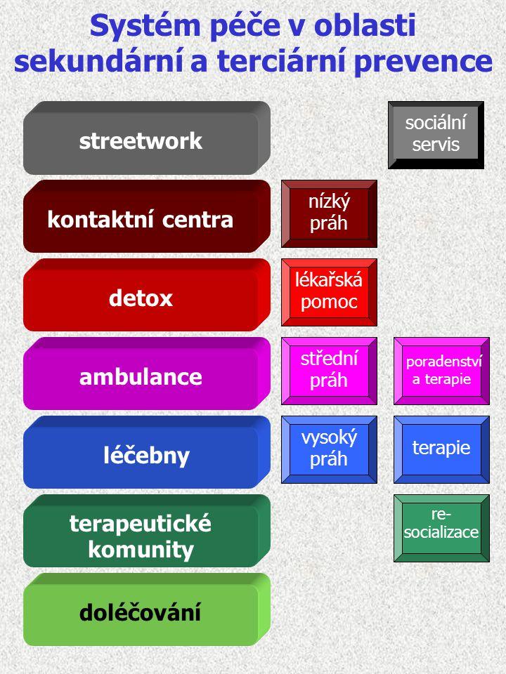 Systém péče v oblasti sekundární a terciární prevence streetwork kontaktní centra detox ambulance terapeutické komunity léčebny doléčování sociální se