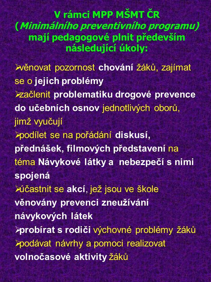 V rámci MPP MŠMT ČR (Minimálního preventivního programu) mají pedagogové plnit především následující úkoly:  věnovat pozornost chování žáků, zajímat