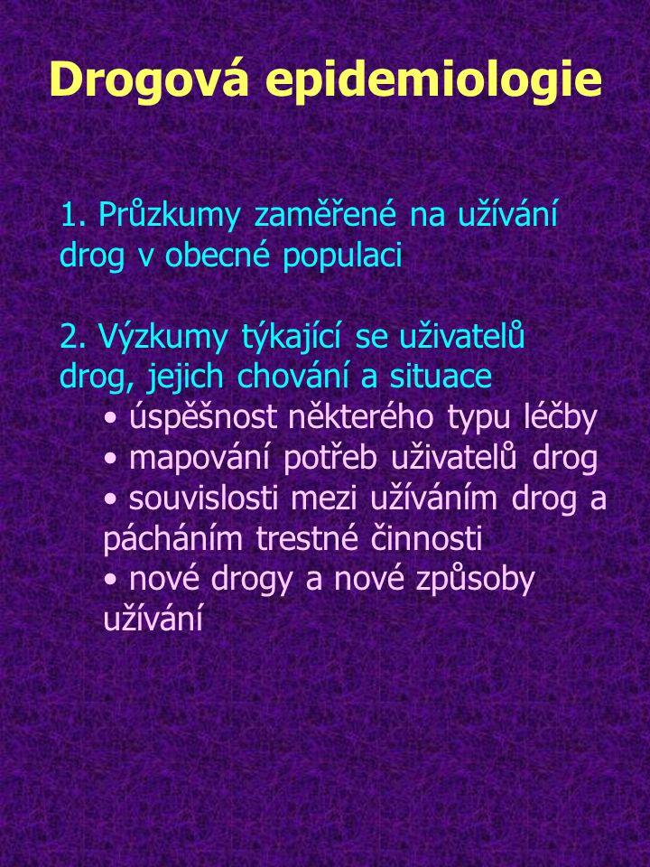 Drogová epidemiologie 1. Průzkumy zaměřené na užívání drog v obecné populaci 2. Výzkumy týkající se uživatelů drog, jejich chování a situace úspěšnost