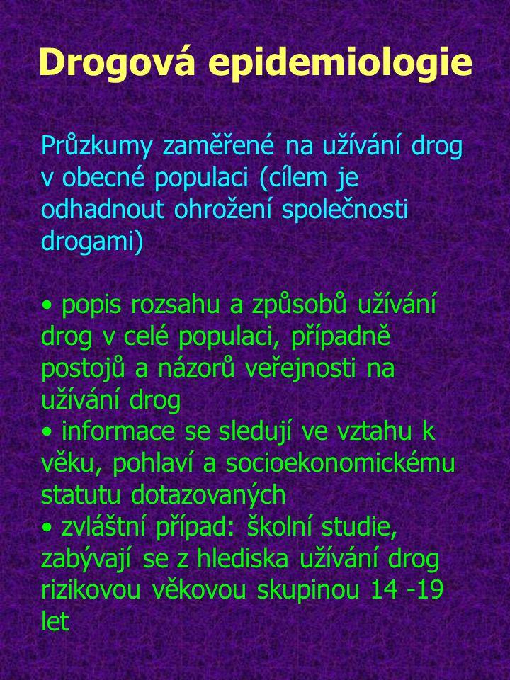 Drogová epidemiologie Průzkumy zaměřené na užívání drog v obecné populaci (cílem je odhadnout ohrožení společnosti drogami) popis rozsahu a způsobů už