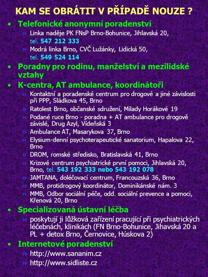 KAM SE OBRÁTIT V PŘÍPADĚ NOUZE ? Telefonické anonymní poradenství  Linka naděje PK FNsP Brno-Bohunice, Jihlavská 20, tel. 547 212 333  Modrá linka B