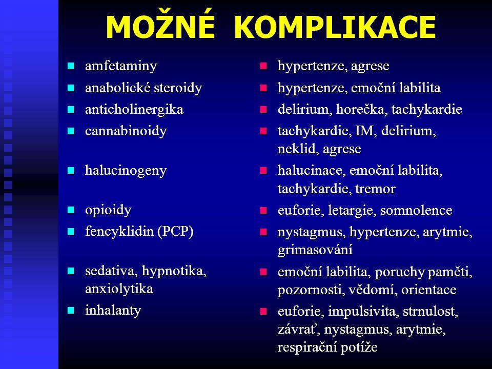 MOŽNÉ KOMPLIKACE amfetaminy amfetaminy anabolické steroidy anabolické steroidy anticholinergika anticholinergika cannabinoidy cannabinoidy halucinogeny halucinogeny opioidy opioidy fencyklidin (PCP) fencyklidin (PCP) sedativa, hypnotika, anxiolytika sedativa, hypnotika, anxiolytika inhalanty inhalanty hypertenze, agrese hypertenze, emoční labilita delirium, horečka, tachykardie tachykardie, IM, delirium, neklid, agrese halucinace, emoční labilita, tachykardie, tremor euforie, letargie, somnolence nystagmus, hypertenze, arytmie, grimasování emoční labilita, poruchy paměti, pozornosti, vědomí, orientace euforie, impulsivita, strnulost, závrať, nystagmus, arytmie, respirační potíže