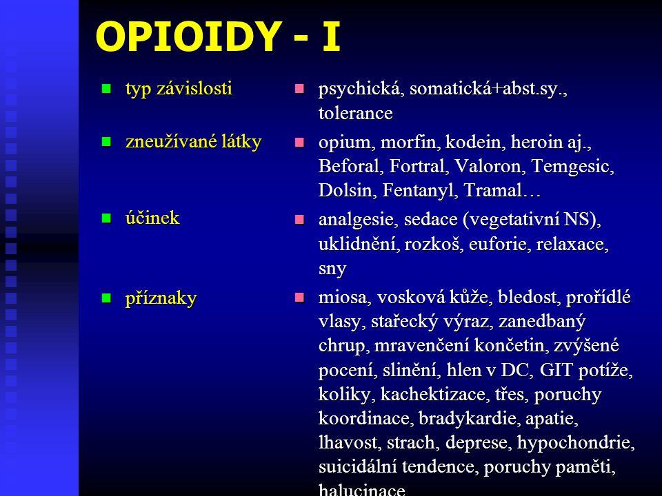 OPIOIDY - I typ závislosti typ závislosti zneužívané látky zneužívané látky účinek účinek příznaky příznaky psychická, somatická+abst.sy., tolerance o