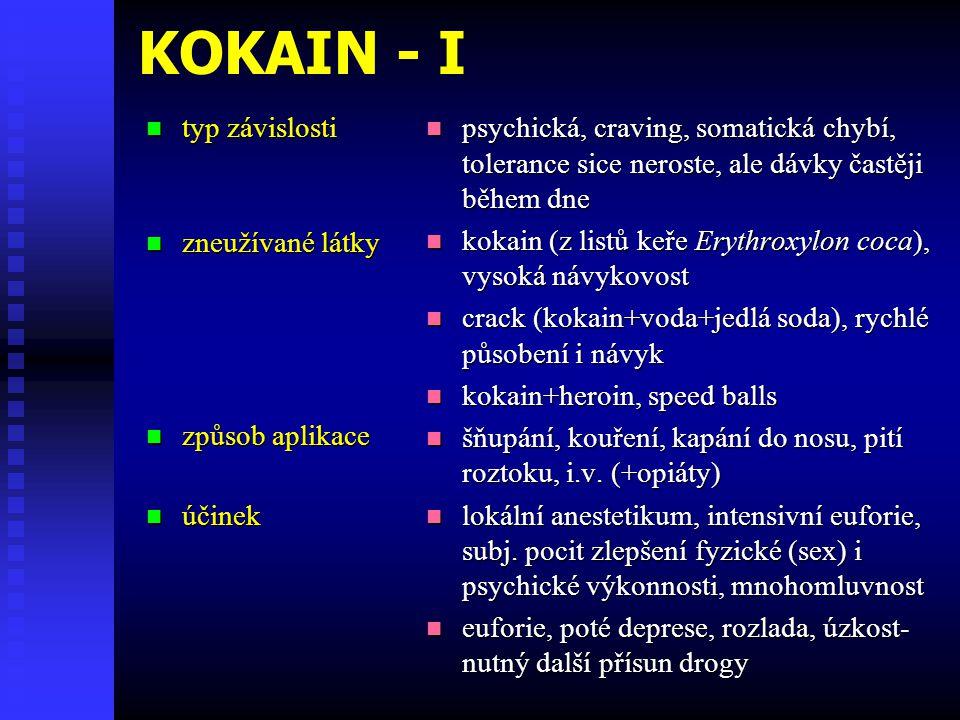 KOKAIN - I typ závislosti typ závislosti zneužívané látky zneužívané látky způsob aplikace způsob aplikace účinek účinek psychická, craving, somatická chybí, tolerance sice neroste, ale dávky častěji během dne kokain (z listů keře Erythroxylon coca), vysoká návykovost crack (kokain+voda+jedlá soda), rychlé působení i návyk kokain+heroin, speed balls šňupání, kouření, kapání do nosu, pití roztoku, i.v.