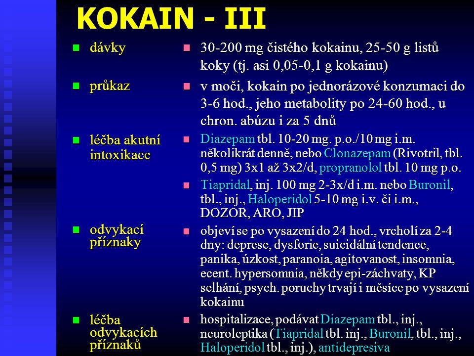 KOKAIN - III dávky dávky průkaz průkaz léčba akutní léčba akutníintoxikace odvykací odvykacípříznaky léčba léčbaodvykacíchpříznaků 30-200 mg čistého kokainu, 25-50 g listů koky (tj.