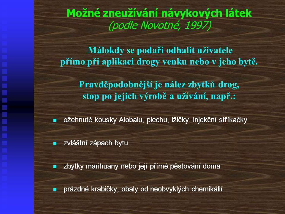 Možné zneužívání návykových látek (podle Novotné, 1997) Málokdy se podaří odhalit uživatele přímo při aplikaci drogy venku nebo v jeho bytě. Pravděpod