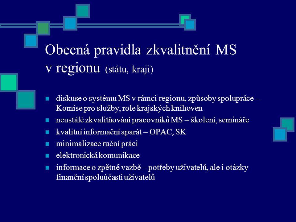 Obecná pravidla zkvalitnění MS v regionu (státu, kraji) diskuse o systému MS v rámci regionu, způsoby spolupráce – Komise pro služby, role krajských knihoven neustálé zkvalitňování pracovníků MS – školení, semináře kvalitní informační aparát – OPAC, SK minimalizace ruční práci elektronická komunikace informace o zpětné vazbě – potřeby uživatelů, ale i otázky finanční spoluúčasti uživatelů
