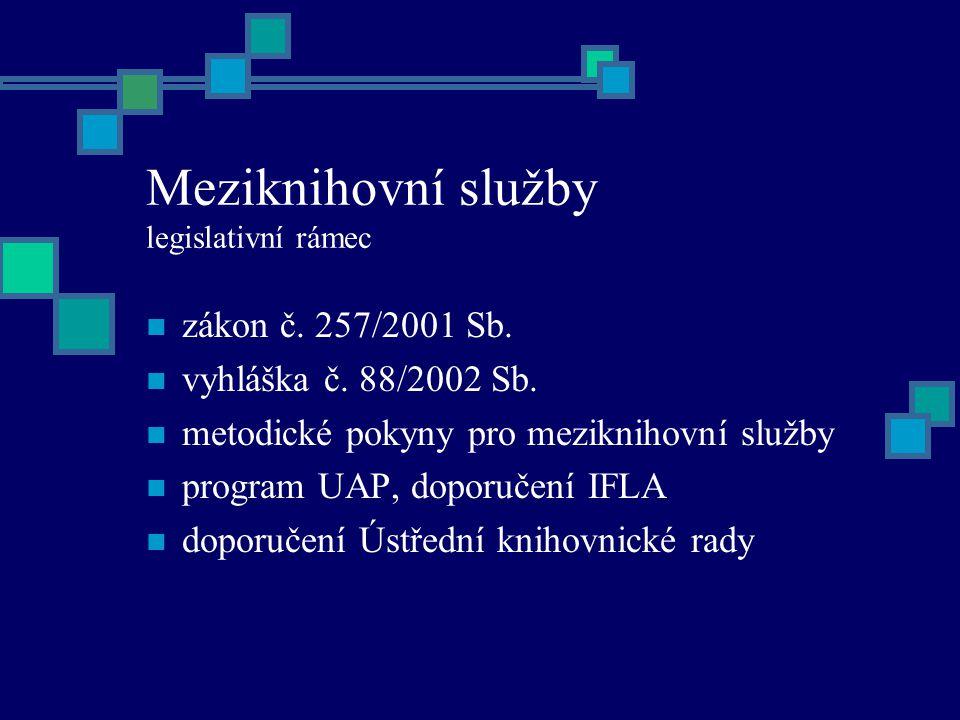 Meziknihovní služby legislativní rámec zákon č. 257/2001 Sb.