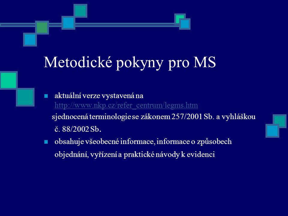 Metodické pokyny pro MS aktuální verze vystavená na http://www.nkp.cz/refer_centrum/legms.htm http://www.nkp.cz/refer_centrum/legms.htm sjednocená terminologie se zákonem 257/2001 Sb.