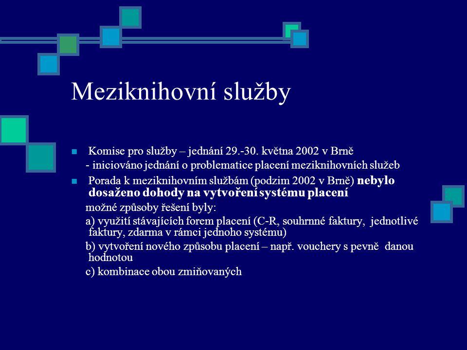 Meziknihovní služby Komise pro služby – jednání 29.-30.