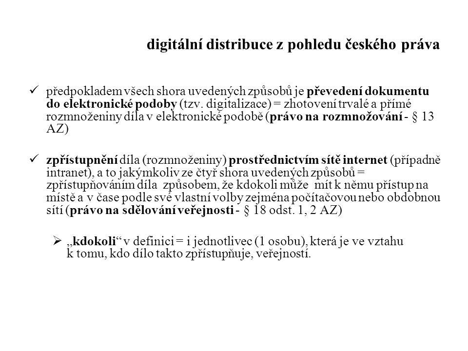 digitální distribuce z pohledu českého práva předpokladem všech shora uvedených způsobů je převedení dokumentu do elektronické podoby (tzv. digitaliza