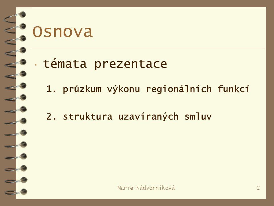 Marie Nádvorníková2 Osnova · témata prezentace 1. průzkum výkonu regionálních funkcí 2.