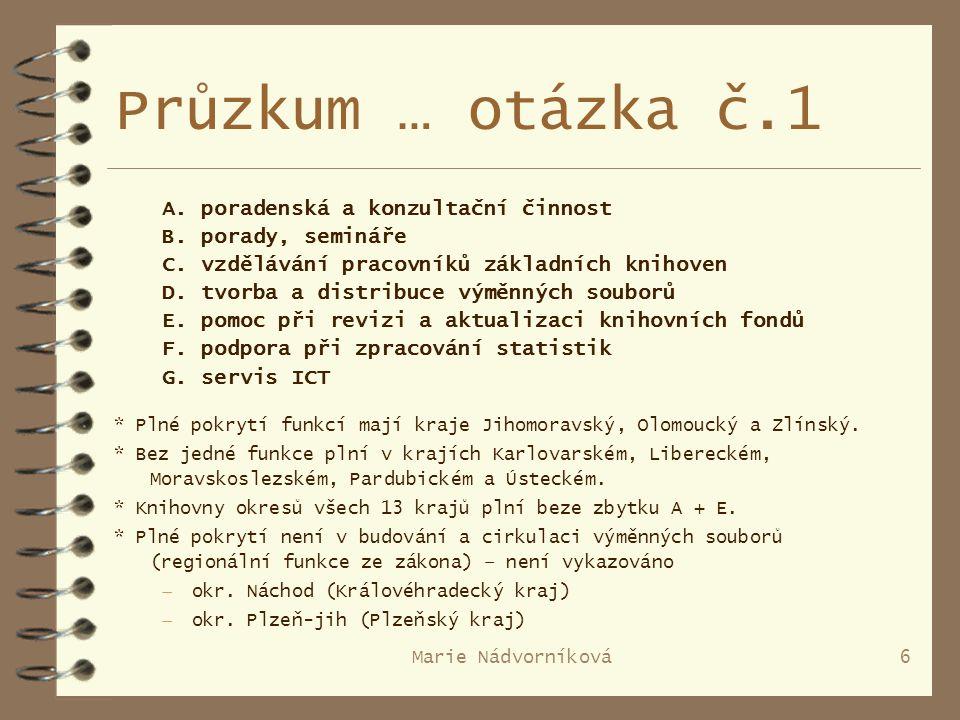Marie Nádvorníková6 Průzkum … otázka č.1 A. poradenská a konzultační činnost B.