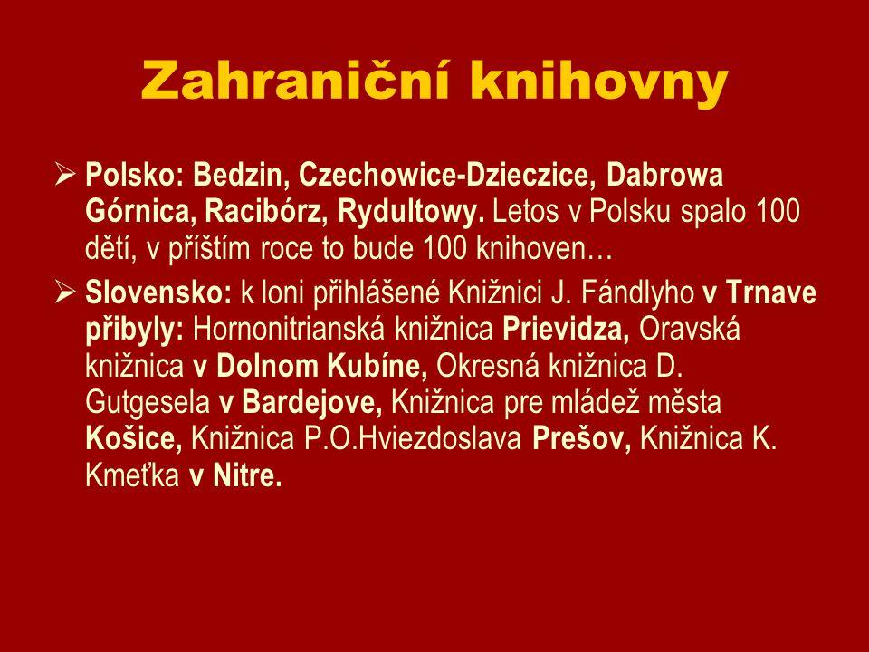 Zahraniční knihovny  Polsko: Bedzin, Czechowice-Dzieczice, Dabrowa Górnica, Racibórz, Rydultowy. Letos v Polsku spalo 100 dětí, v příštím roce to bud