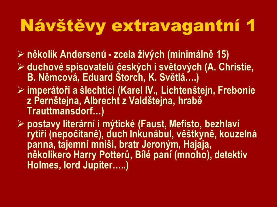 Návštěvy extravagantní 1  několik Andersenů - zcela živých (minimálně 15)  duchové spisovatelů českých i světových (A. Christie, B. Němcová, Eduard