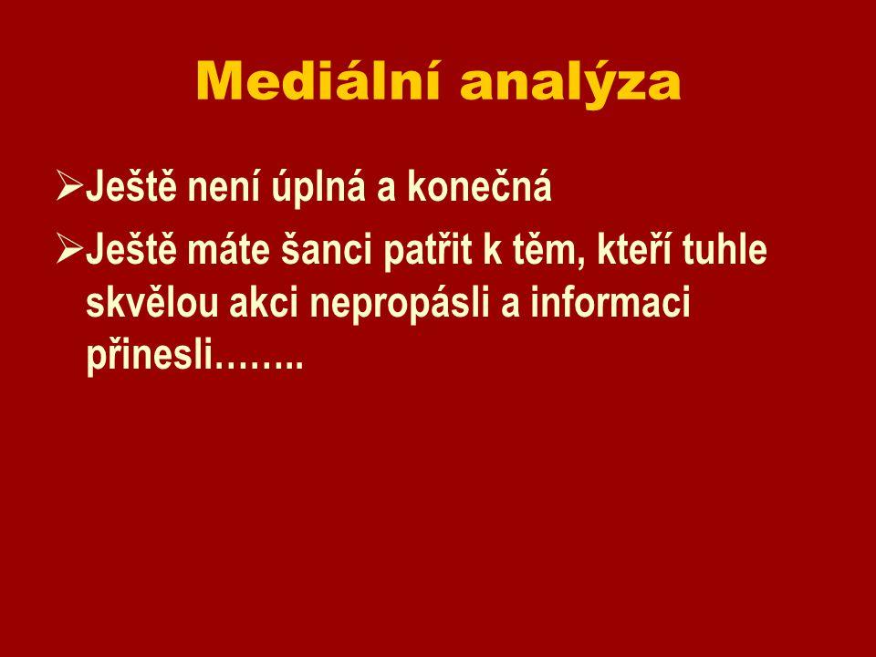 Mediální analýza  Ještě není úplná a konečná  Ještě máte šanci patřit k těm, kteří tuhle skvělou akci nepropásli a informaci přinesli……..