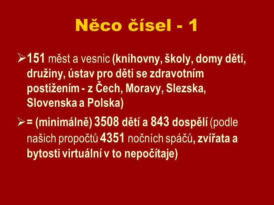 Něco čísel - 1  151 měst a vesnic (knihovny, školy, domy dětí, družiny, ústav pro děti se zdravotním postižením - z Čech, Moravy, Slezska, Slovenska a Polska)  = (minimálně) 3508 dětí a 843 dospělí (podle našich propočtů 4351 nočních spáčů, zvířata a bytosti virtuální v to nepočítaje)