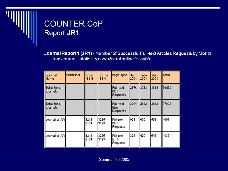 Seminář 9.3.2005 COUNTER CoP Report JR2 Journal Report 2 (JR2) - Turnaways by Month and Journal - statistiky o využívání online časopisů, ke kterým je nastaven uživatelský model přístupu jako maximální počet současně pracujících uživatelů: