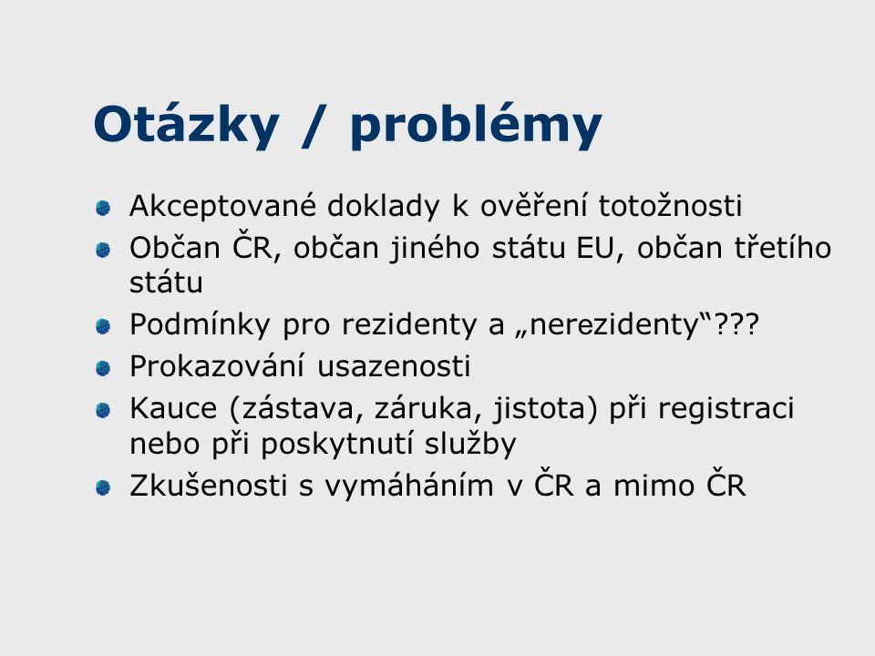 """Otázky / problémy Akceptované doklady k ověření totožnosti Občan ČR, občan jiného státu EU, občan třetího státu Podmínky pro rezidenty a """"ner e zidenty ."""