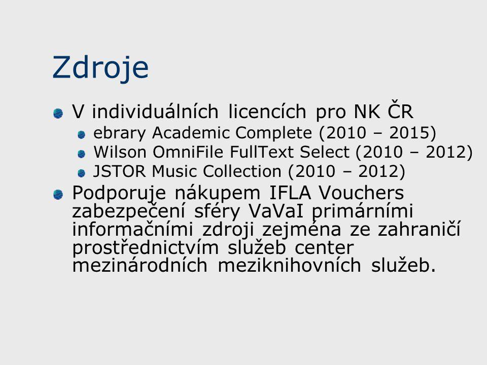 Zdroje V individuálních licencích pro NK ČR ebrary Academic Complete (2010 – 2015) Wilson OmniFile FullText Select (2010 – 2012) JSTOR Music Collection (2010 – 2012) Podporuje nákupem IFLA Vouchers zabezpečení sféry VaVaI primárními informačními zdroji zejména ze zahraničí prostřednictvím služeb center mezinárodních meziknihovních služeb.