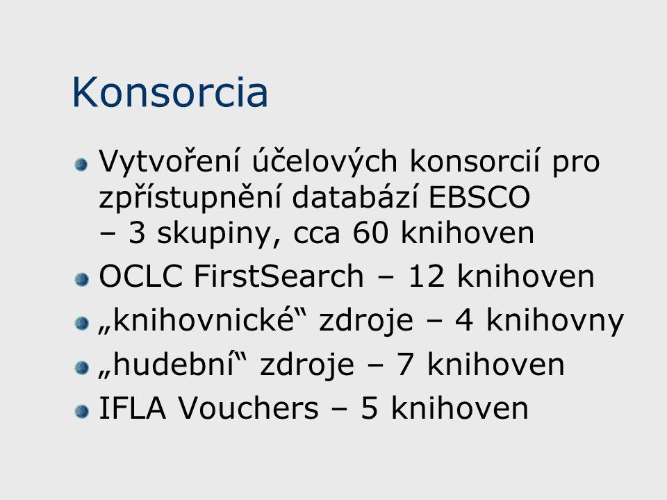 """Konsorcia Vytvoření účelových konsorcií pro zpřístupnění databází EBSCO – 3 skupiny, cca 60 knihoven OCLC FirstSearch – 12 knihoven """"knihovnické zdroje – 4 knihovny """"hudební zdroje – 7 knihoven IFLA Vouchers – 5 knihoven"""
