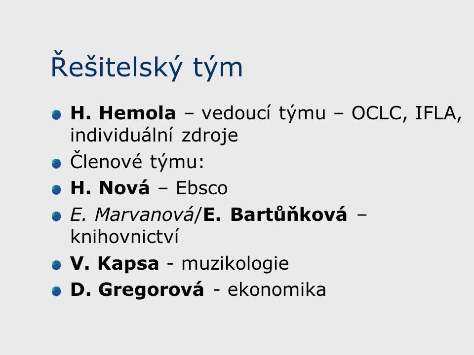Řešitelský tým H. Hemola – vedoucí týmu – OCLC, IFLA, individuální zdroje Členové týmu: H. Nová – Ebsco E. Marvanová/E. Bartůňková – knihovnictví V. K
