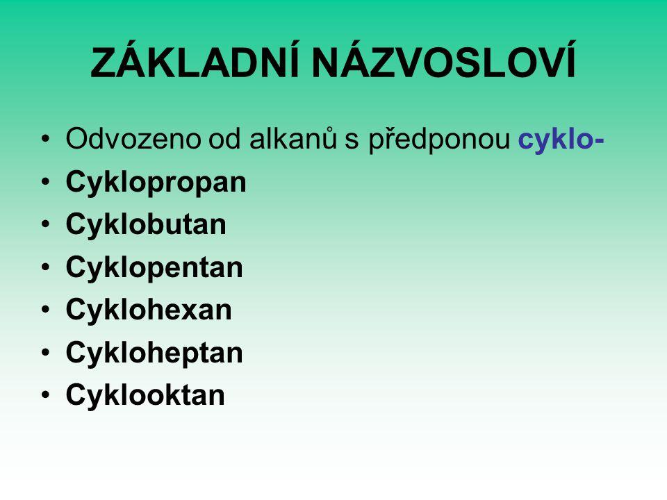 ZÁKLADNÍ NÁZVOSLOVÍ Odvozeno od alkanů s předponou cyklo- Cyklopropan Cyklobutan Cyklopentan Cyklohexan Cykloheptan Cyklooktan