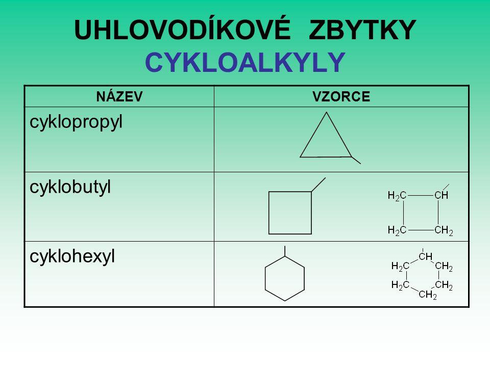 UHLOVODÍKOVÉ ZBYTKY CYKLOALKYLY NÁZEVVZORCE cyklopropyl cyklobutyl cyklohexyl